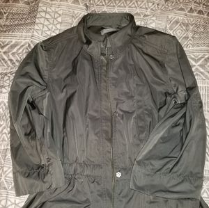Olive colored light rain jacket